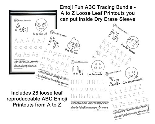 Emoji ABC Tracing Fun Bundle - Teach Alphabet with Reusable Dry Erase Sleeve, Reproduceable ABC Emoji Sheets and Smiley Face Dry Erase Marker Eraser