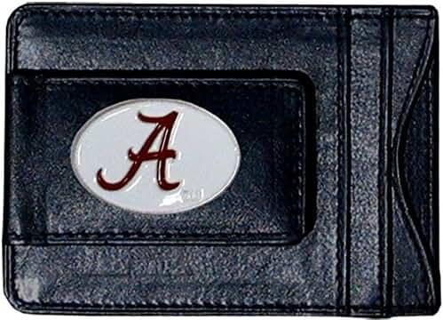 Alabama Crimson Tide Fine Leather Money Clip - Black