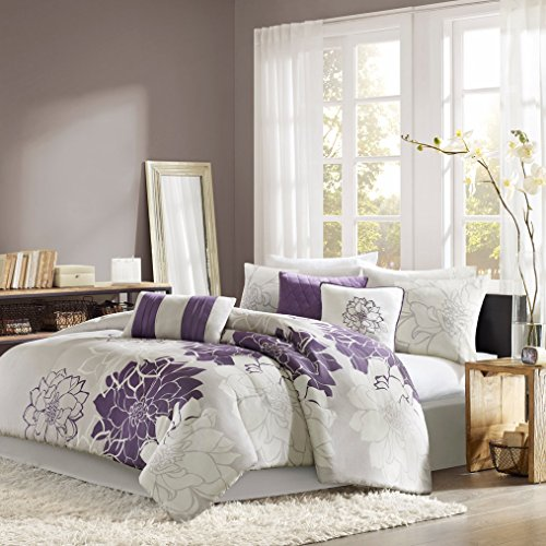 7 Piece Modern Luxury Bedding Comforter Set in Grey Purple Floral Collection, Full / Queen