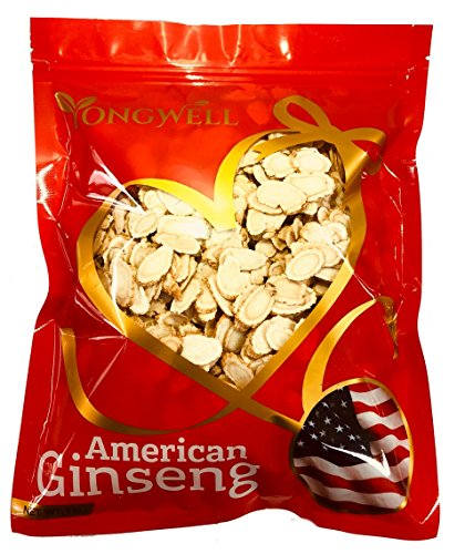 Hand-selected A Grade American Ginseng Slice Medium Slice (1 Lb. Gift Bag) by New Green Nutrition