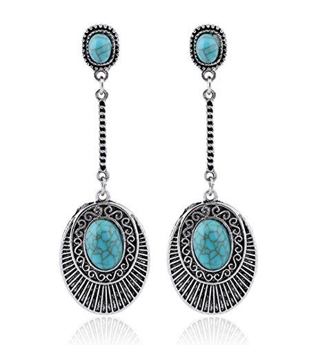 UHANGETH Boho Ethnic Retro Teardrop Elliptical Long Tassel Drop Dangle Earrings Jewelry for Wowen Girls
