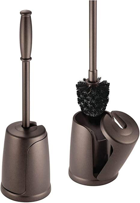 Deep Cleaning Sturdy Bronze mDesign Slim Compact Plastic Toilet Bowl Brush and Holder for Bathroom Storage 2 Pack
