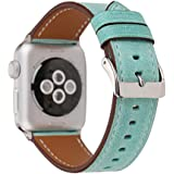 Apple Watch Band 38mm, Pure Color Genuine Leather Replacement Strap Watchband for 38mm Apple Watch Series 3, Series 2, Series 1 - Turquoise