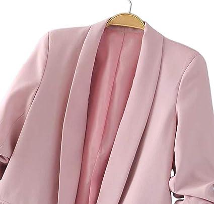 Mujer Blazer Casual Manga Fruncida Collar de Mant/ón Chaquetas de Traje de Oficina