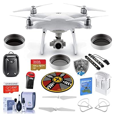 DJI Phantom 4 Advanced + Pro Kit - Bundle with DJI Hardshell Backpack, 64/32GB MicroSDXC Card, Spare Battery, DJI Care Refresh Warranty, Propeller Guard, Collapsible Pad, Polar LED Light Bars, More
