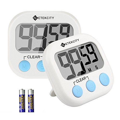 Etekcity 2 Pack Digital Kitchen Timer: Large LCD Display, Battery Included (White)