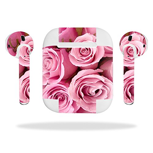 - MightySkins Skin Compatible with Apple AirPods - Pink Roses   Protective, Durable, and Unique Vinyl Decal wrap Cover   Easy to Apply, Remove, and Change Styles   Made in The USA