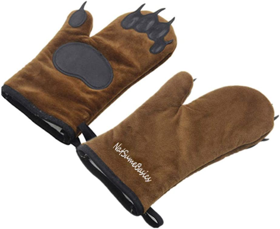 NatSumeBasics Brown Bear Paw Oven Mitts, 2 Pack Heat Resistant Kitchen Gloves for Home Daily Cooking, BBQ, Outdoor Camping Cook, Gift Idea for Friends or Familys