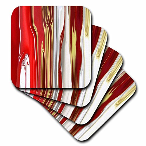 Red Tile Coaster - 3dRose Modern Red Silver N Gold Melt - Ceramic Tile Coasters, Set of 4 (cst_80716_3)