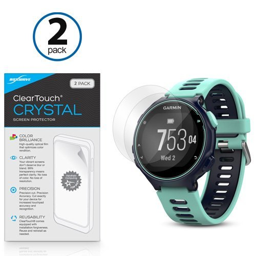 Price comparison product image Garmin Forerunner 735XT Screen Protector, BoxWave® [ClearTouch Crystal (2-Pack)] HD Film Skin - Shields From Scratches for Garmin Forerunner 735XT