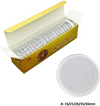 Youliy - 20 cápsulas redondas transparentes de 46 mm, estuche de almacenamiento con junta de goma EVA ajustable de 16 a 40 mm, resistente a los arañazos, reutilizable y ligero A: Amazon.es: Hogar