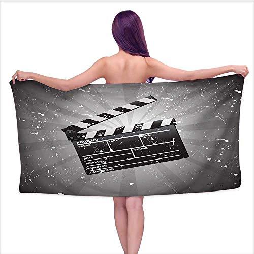 Glifporia Print Bathroom Accessories Set Movie Theater,Clapper Board on Retro Backdrop with Grunge Effect Director Cut Scene,Grey Black White,W12 xL35 for Baby Girl ()