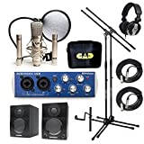 Home Recording Studio Bundle CAD GXL2200SSP MH110 Stands PreSonus AudioBox USB Samson Media ONE BT3 Speakers
