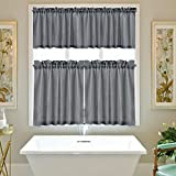 IdealHouse 3 Pieces Waffle Weave Textured Tier Curtains and Window Valances Set for Bathroom Kitchen, Fabric Pure Color Rod Pocket, White(60'' x 15'' Valance, 2 Set of 30 x 24'' Tiers)