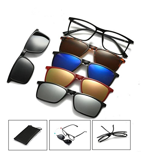 Life Needs A Surprise | Five-in-one magnetic glasses | 5 sunglasses clip on glasses by AoHeng