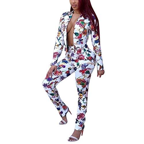 a391a59b37 Dreamparis Women s Suits 2 Piece Outfits Floral Blazer + Long Pants Set