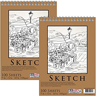 """U.S. Art Supply 9"""" x 12"""" Premium Spiral Bound Sketch Pad, (Pack of 2 Pads) Each Pad has 100-Sheets, 60 Pound (100gsm) (Pack of 2 Pads)"""