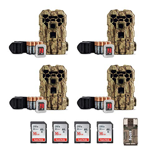 Package Cam (Stealth Cam QS24NGK 14MP Trail Cam 4-Pack, IR No Glo, with 8 Memory Cards, AA Batteries, and Focus USB Reader Bundle)