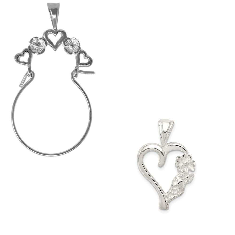 Mireval Sterling Silver Fancy Heart Charm on an Optional Charm Holder