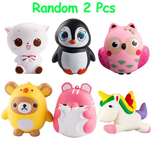 BeYumi Random 2 Pcs Animal Squishy Slow Rising Toy Charm Kawaii Squishy toys for Kids Cream Scented Squeeze Stress Relief Toy