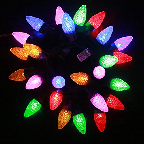 Indoor/Outdoor LED String Light C7, ENSAP UL Listed 18.5ft 25 LEDs Multicolor Christmas Light for Patio Garden Holiday Wedding Party Indoor Home Decorating (Weatherproof, Connectable) ()
