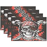 FENNEN Dining Placemats Pirate Sugar Skull Table mats Non-Slip Doily Washable TableMats (Set of 6)