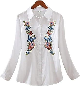 RBDSE Camisa Camisas de Manga Larga para Mujer Moda de Gran tamaño Flores Sueltas Ocasionales Bordadas para Mujer Blusa Top: Amazon.es: Deportes y aire libre