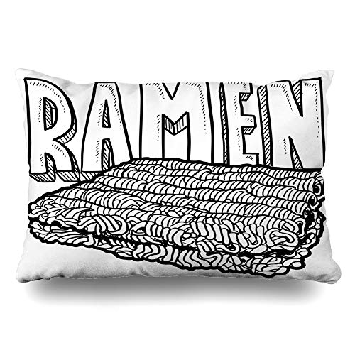 Ahawoso Throw Pillow Cover King 20x36 Food Dorm Doodle Ramen Noodles College Drink Parks Bachelor Life Room Dormitory Drawing Design Zippered Cushion Case Home Decor Pillowcase
