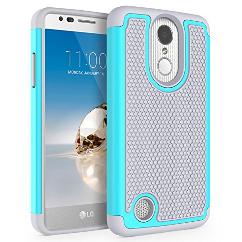 Case for LG Aristo / LG Phoenix 3 / LG Fortune / LG Rebel 2 LTE / LG Risio 2 / LG LV3 / LG V3 / LG K8 2017, SYONER [Shockproof] Defender Phone Case Cover [Turquoise/Gray]