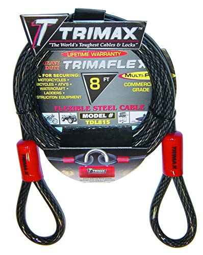 Trimax TDL815 Trimaflex 8' X 15mm Dual Loop Multi-Use Cable (Cut Cable Lock)