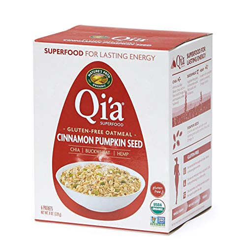 - Nature's Path Qi'a Superfood Oatmeal, Cinnamon and Pumpkin Seed, Healthy, Organic & Gluten Free, 8 Pouches per Box, 8 Ounces (Pack of 6)