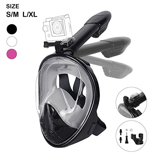 Unigear 180° Full Face Snorkel Mask -Panoramic View with Detachable for GoPro Mount and Earplug,Anti-Fog Anti-Leak Snorkeling Design for Adults and Youth (Best Face Mask In The Philippines)
