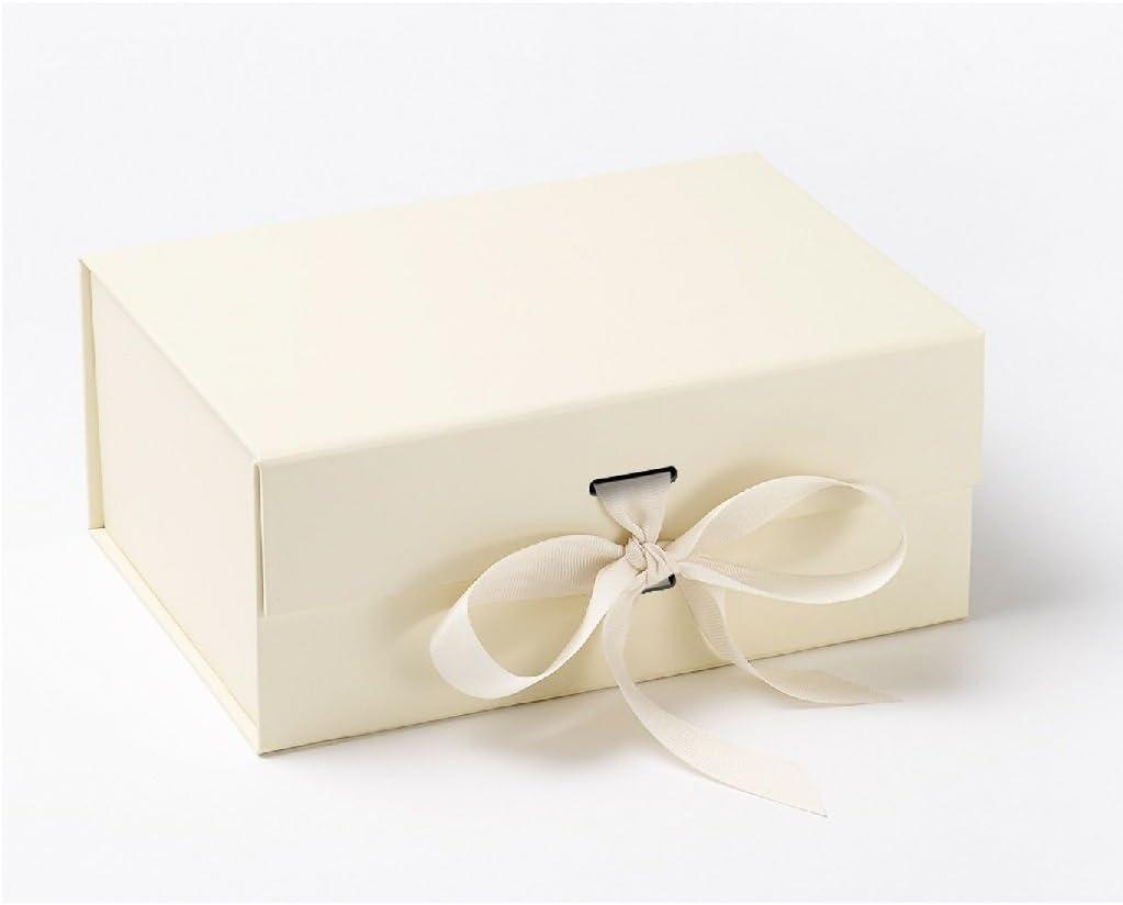 Caja de regalo de lujo marfil blanco pesado con tapa magnética sellada – embalaje de alta calidad para cualquier ocasión con cinta de seguridad. Tabla extra gruesa, tamaño A5, ideal para un