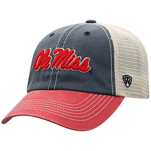 Top of the World Ol Miss Rebels Men's Mesh-Back Hat Icon, Navy, ()