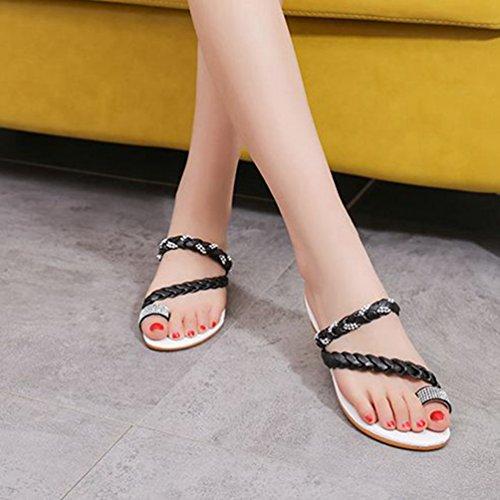 Femmes Sandales Bohémiens Noir Flops Forme de Strass Flip Confort Coins étincelante Beach Summer Bas Plate Sandale adSxqrXa