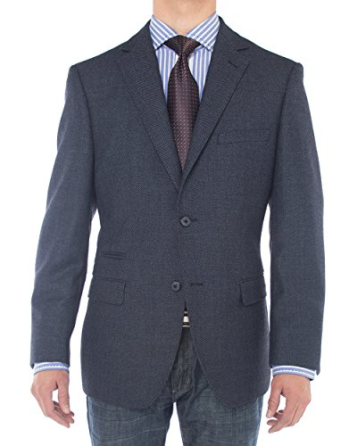 Luciano Natazzi Mens 2 Button 160'S Wool Blazer Working Button Holes Suit Jacket (44 Long US / 54 Long EU, French Blue) by Luciano Natazzi