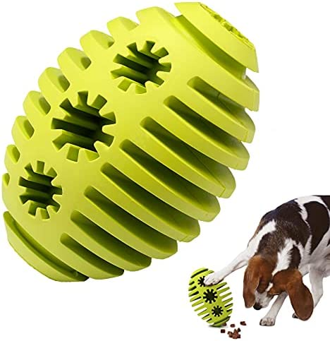 Puppy Dog Chew Toys, Heavy Duty Long Lasting Natural Rubber Indestructible Slow Feeder Toy Ball, Interactive Training Pet Dog Toys for Boredom, Nontoxic Teeth Cleaning Football For Large Medium Dogs