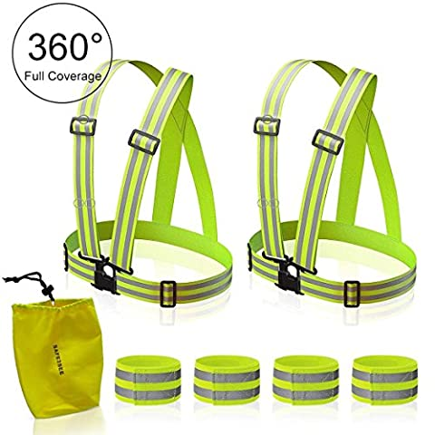 Reflective Vest High Visibility Safety Vest (2-Pack) . One Size Fits All! Great for Running, Jogging, Walking, Cycling & Safety. Fits over Outdoor Gear. Increases Safety 5X. Bonus 4 Bands & (Life Vests 5x)