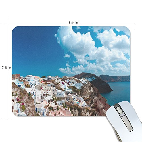 Personalized Mouse Pad Large Rectangle Gaming Mouse Pad Style Rubber Mousepad with A Corner of Greece in 9.84