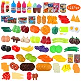 BeebeeRun Play Food Set,Pretend Food,Preschool Toys,Plastic Fruit and Vegetables Toys 123 Pieces,Toy for Kids 3 Years up