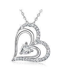 925 Sterling Silver Heart Necklace - Billie Bijoux 'Heart To Heart' White Gold Plate Diamond Pendant Women