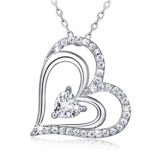 925 Sterling Silver Heart Necklace - Billie Bijoux 'Heart To Heart' White Gold Plate Diamond Pendant (Bijoux Heart)