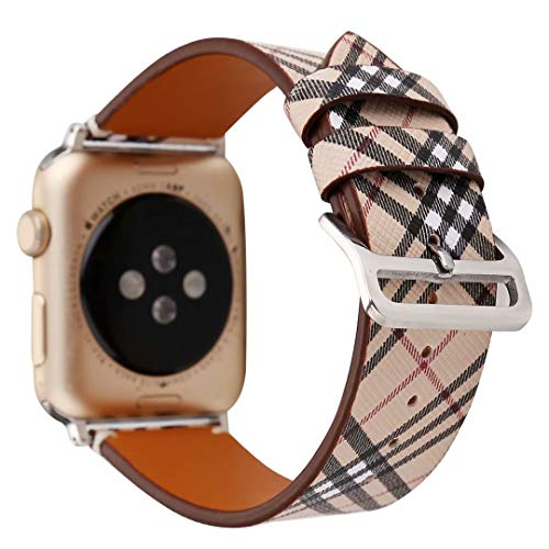 Clatune Vintage Check Pattern Watch Band Strap Plaid Leather Wristband Bracelet Compatible with 44mm 42mm Apple Watch Series 4/3/2/1, Khaki ()