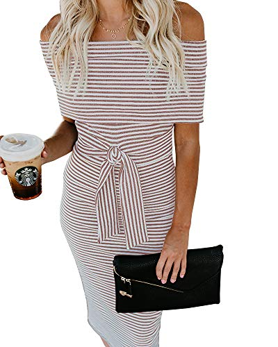 Belt Pink Pencil Ruffles Dresses Off Bodycon with Imysty Party Dress Cocktail Womens The Striped Shoulder nxOqn64wS