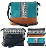 K&Bo Women's Cross Body Bag and Clutch with Boho Style Embroidery, Teal/Black/Brown