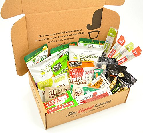 PALEO Healthy Snacks Care Package (25 Ct): Protein Energy Bars, Grass Fed Beef Meat Sticks Jerky, Plantain Chips, Nuts, Crispy Fruit, Fitness Variety Pack, CrossFit, Athlete, Military