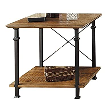 Homelegance Factory Modern Industrial Style End Table, Rustic Brown