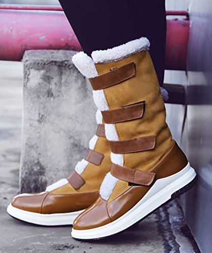 Brown Hook Warm Boots Mid Round Snow Sole And Fur Winter Flat Loop Toe Lined Womens Shoes Calf Aisun Thick Faux xqIHgH