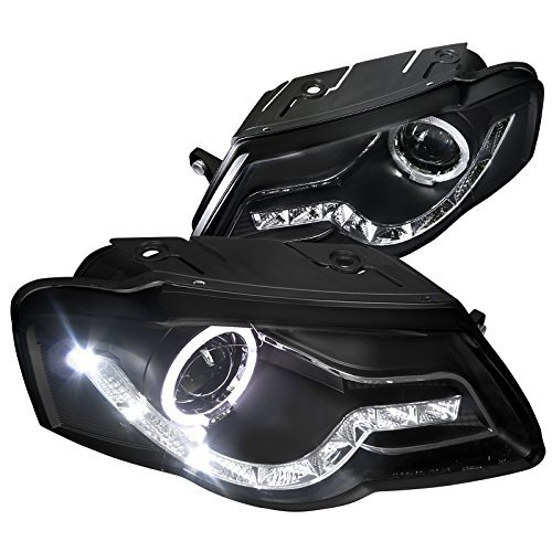 Spec-D Tuning LHP-PAS05JM-8-TM VW Passat Crystal Black R8 Style LED DRL Halo Projector (05 Vw Volkswagen Passat Headlight)