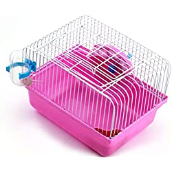 Wildgirl Small Animal Habitat Pet House Hamster Cages Portable Castle (Rose)